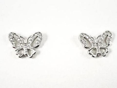 Beautiful Elegant Butterfly Design CZ Silver Earrings