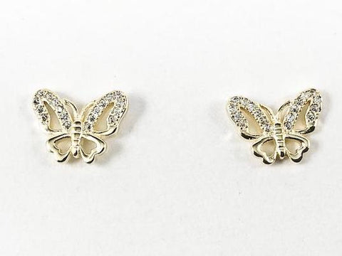 Beautiful Elegant Butterfly Design CZ Gold Tone Silver Earrings