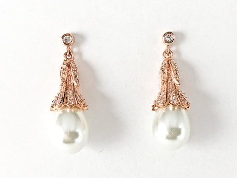 Elegant Bezel CZ Unique Design Pearl Dangle Pink Gold Tone Silver Earrings