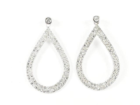 Elegant Fancy Large Oval Shape Pave Style CZ Drop Silver Earrings