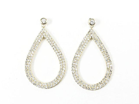 Elegant Fancy Large Oval Shape Pave Style CZ Drop Gold Tone Silver Earrings