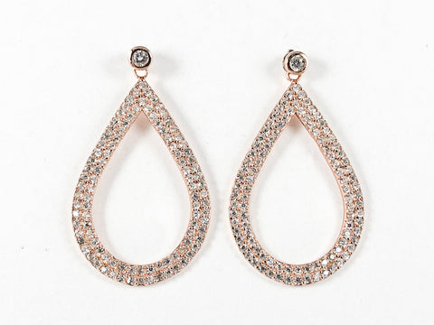 Elegant Fancy Large Oval Shape Pave Style CZ Drop Pink Gold Tone Silver Earrings