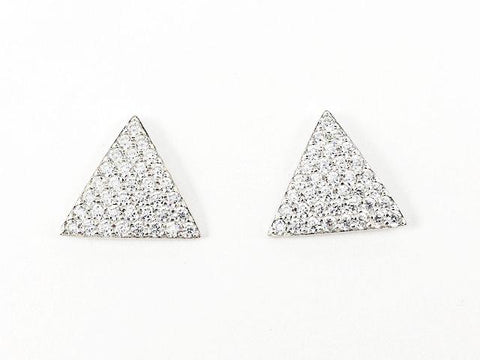 Fine Triangle Shape Micro CZ Setting Stud Silver Earrings