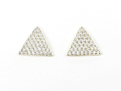 Fine Triangle Shape Micro CZ Setting Gold Tone Stud Silver Earrings