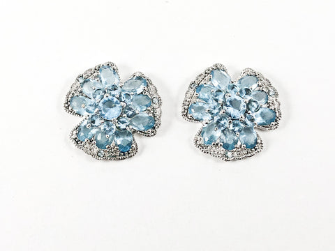 Beautiful Detailed Floral Aquamarine CZs Silver Earrings