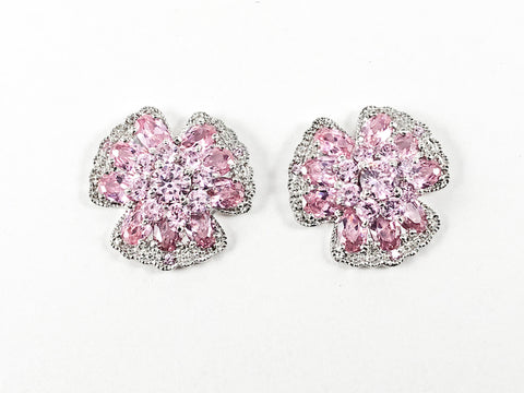 Beautiful Detailed Floral Pink CZs Silver Earrings