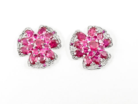Elegant Unique Floral Shape Ruby Color CZ Silver Earrings