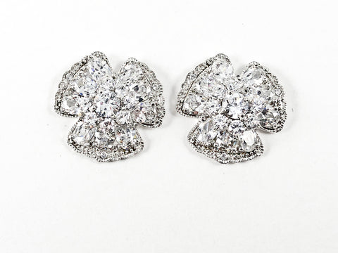 Elegant Unique Floral Shape CZ Silver Earrings