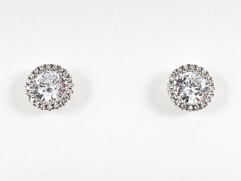 Elegant Layered Round Shape CZ Silver Stud Earrings