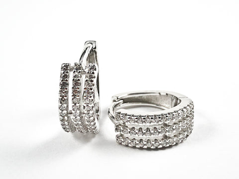 Fine Multi Row Dainty CZ Huggie Silver Earrings