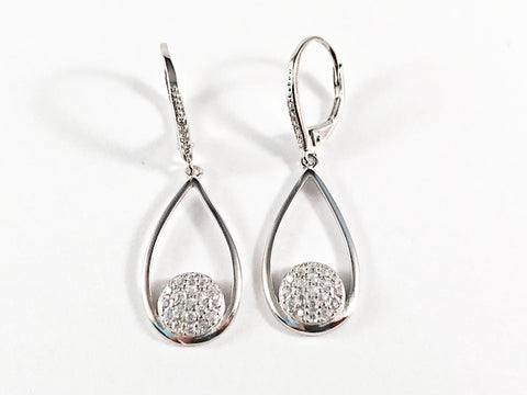 Elegant Open Long Pear Shape CZ Silver Earrings