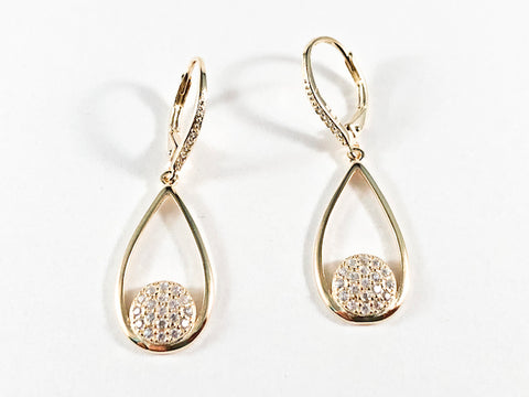 Elegant Open Long Pear Shape Gold Tone CZ Silver Earrings