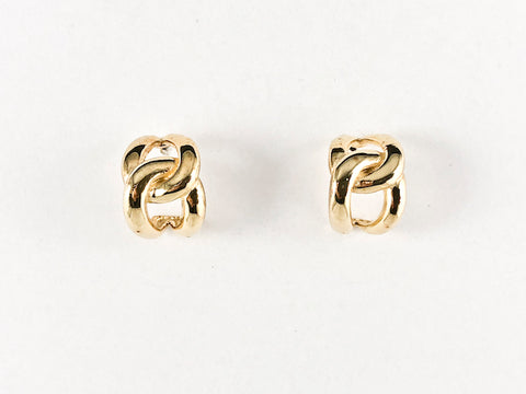 Dainty Interlocked Design Gold Tone Stud Silver Earrings