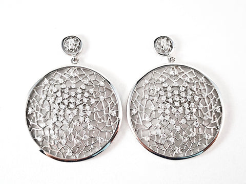 Elegant Unique Round Open Web Design Pattern CZ Dangle Silver Earrings