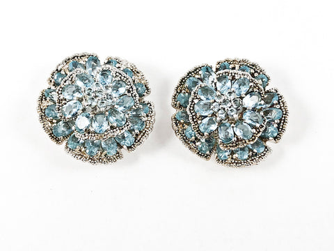 Beautiful Large Round Floral Elegant Setting Aquamarine Color CZ Stud Silver Earrings