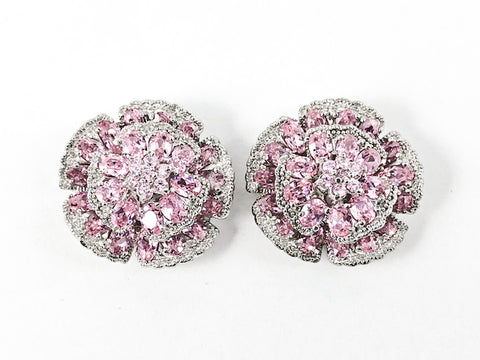 Beautiful Large Round Floral Elegant Setting Pink Color CZ Stud Silver Earrings