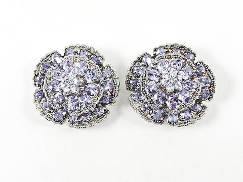 Beautiful Large Round Floral Elegant Setting Purple Color CZ Stud Silver Earrings