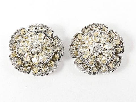 Beautiful Large Round Floral Elegant Setting Yellow Color CZ Stud Silver Earrings