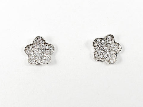 Simple Cute Star Design With Micro CZ Style Setting Silver Earrings