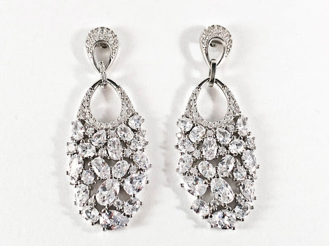 Elegant Multi Shape CZ Fill Pattern Dangle Silver Earrings