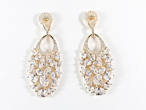 Elegant Multi Shape CZ Fill Pattern Gold Tone Dangle Silver Earrings