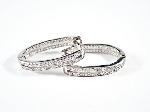 Fine Beautiful Oval Shape Pave CZ Huggie Style Silver Earrings