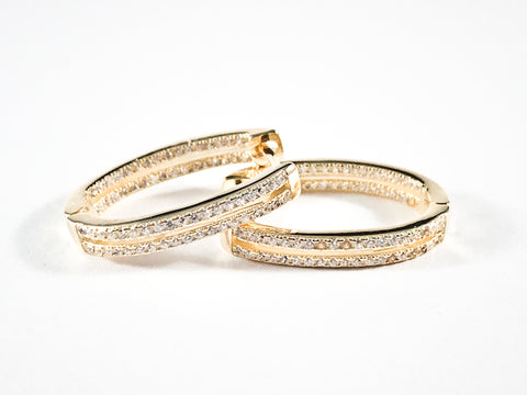 Fine Beautiful Oval Shape Pave CZ Huggie Style Gold Tone Silver Earrings