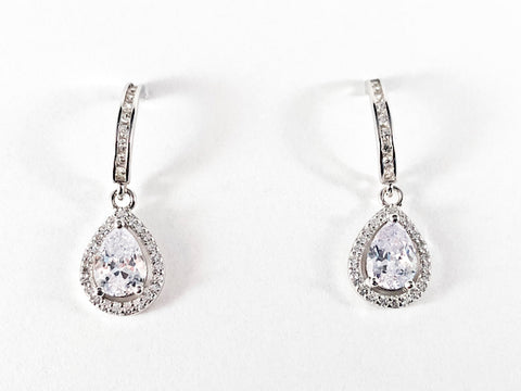 Elegant Pear Shape CZ Dangle Silver Earrings