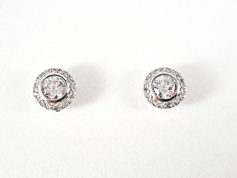 Elegant Classic Round Halo CZ Stud Screw Back Silver Earrings