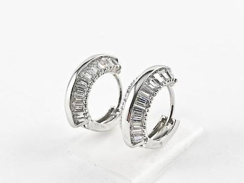 Elegant Fine Baguette Setting Huggie Silver Earrings