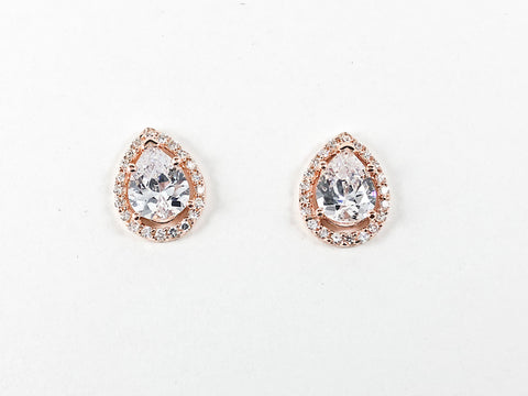 Classic Elegant Tear Drop CZ Pink Gold Silver Earrings
