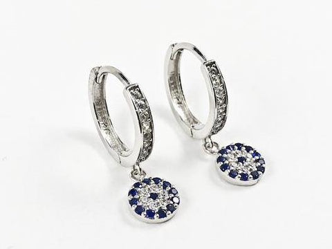 Classic Evil Eye With Sapphire Color CZ Dangle Lever Back Silver Earrings