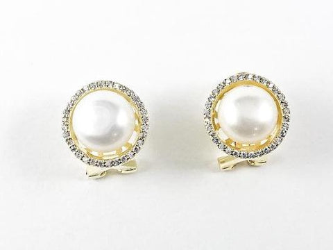Elegant Round Pearl With Round CZ Frame Gold Tone Omega Clip Silver Earrings