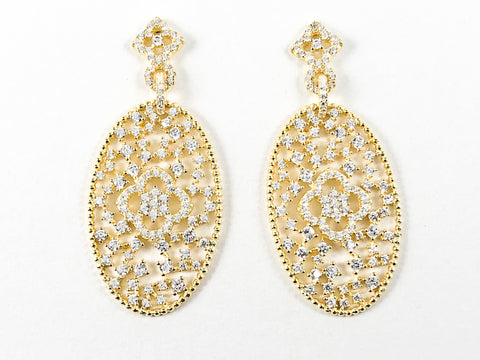 Elegant Beautiful Large Oval Shape CZ Gold Tone Drop Silver Earrings