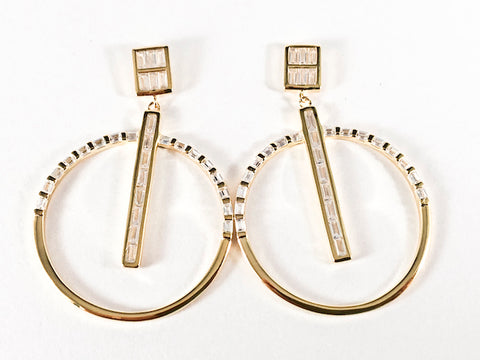 Modern Square With Large Round Dangle Design Baguette CZ Gold Tone Silver Earrings
