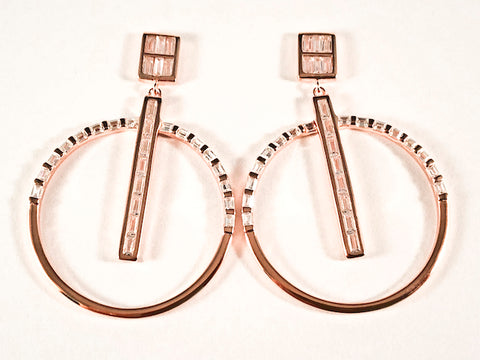 Modern Square With Large Round Dangle Design Baguette CZ Pink Gold Tone Silver Earrings