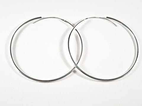 Large Thin Beading Hoop Opening & Closing Silver Earrings