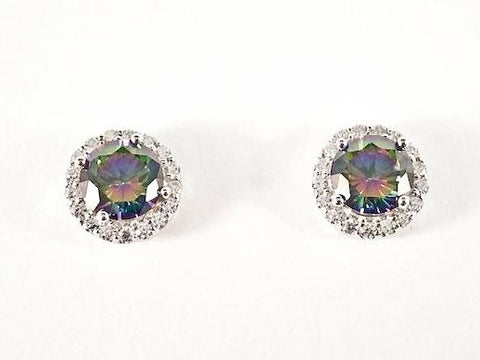 Classic Round Shape Halo Design Center Mystic Topaz CZ Stud Silver Earrings