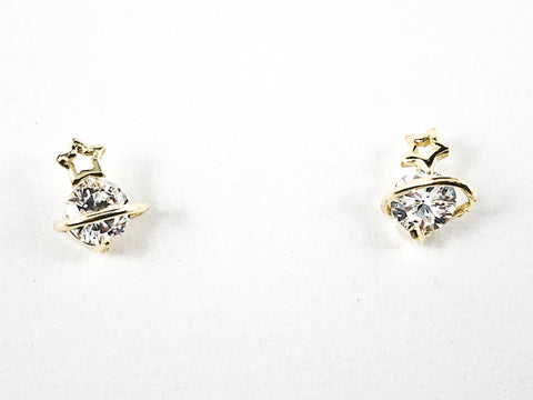 Cute Dainty Center CZ With Gold Tone Star Crown Silver Earrings