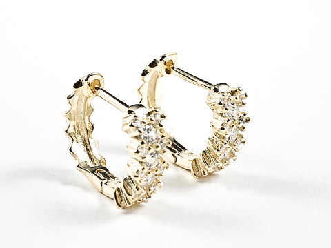 Elegant Fine CZ Huggie Style Gold Tone Silver Earrings