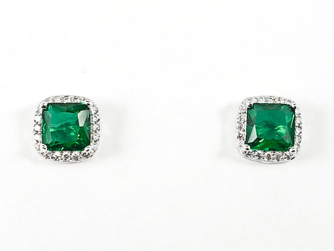 Elegant Double Square Center Green CZ Silver Stud Earrings