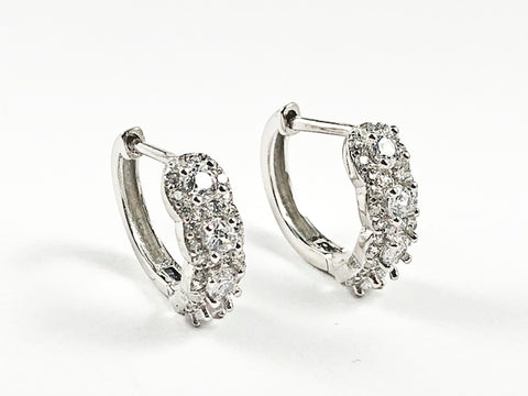 Elegant Classic Thin CZ Huggie Silver Earrings