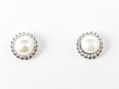 Classic Elegant Center Round Pearl With CZ Frame Silver Stud Earrings