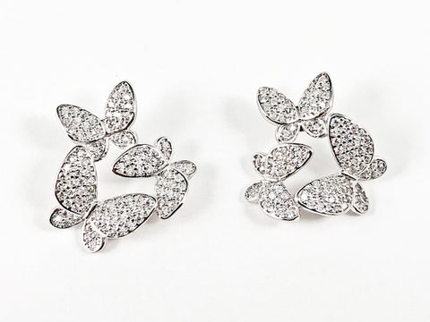 Unique Beautiful Multi Butterfly Pave Style CZ Silver Earrings