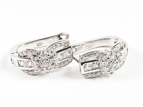 Unique Criss Cross Design CZ Huggie Style Silver Earrings
