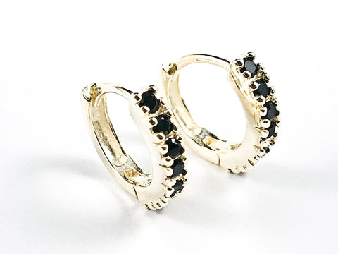 Classic Thin Single Row Black CZ Gold Tone Huggie Silver Earrings