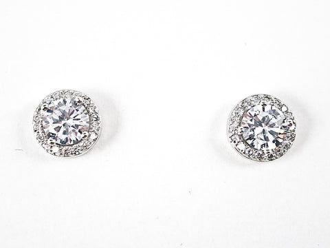 Classic Elegant Round Shape Halo Design Stud CZ Silver Earrings