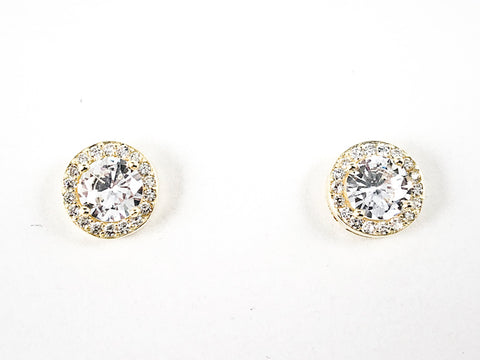 Classic Elegant Round Shape Halo Design Gold Tone Stud CZ Silver Earrings
