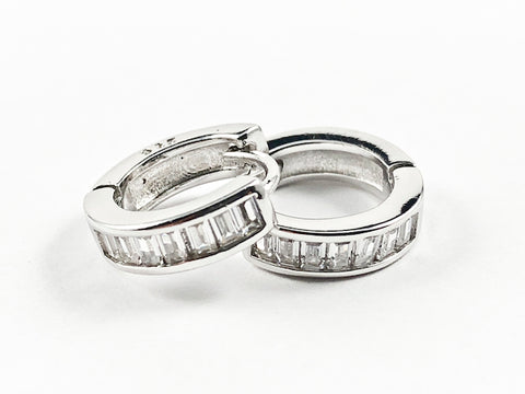 Elegant Micro Baguette CZ Setting Huggie Style Silver Earrings