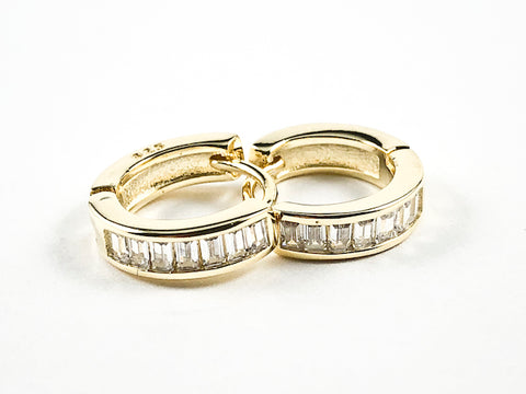 Elegant Micro Baguette CZ Setting Huggie Style Gold Tone Silver Earrings